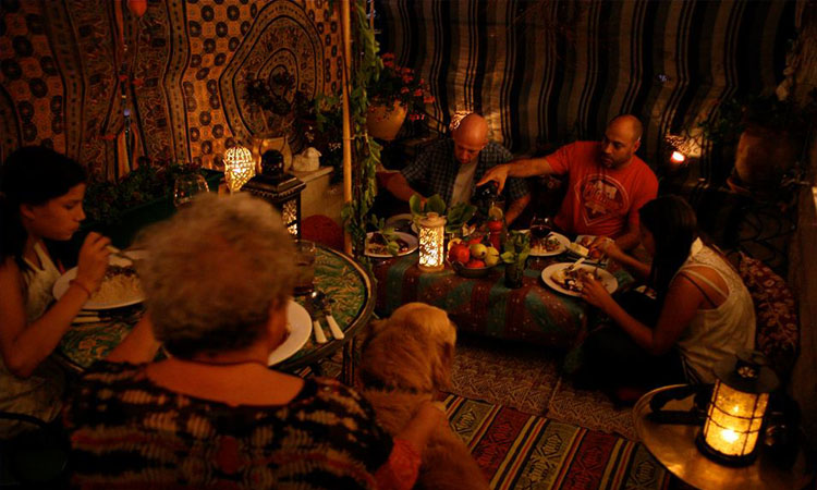 Festive Meal Inside the Sukkah