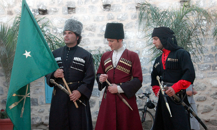 Circassian men in traditional clothes in Kfar Kama