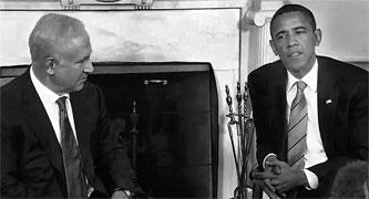Benjamin Netanyahu  with Barack Obama in the Oval Office - Wiki Photo