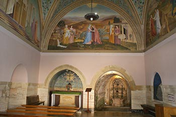 The fresco celebrates the meeting between Mary and her aged cousin, Elisabeth, just outside Jerusalem.