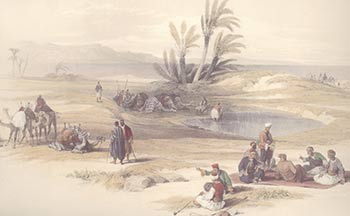 The Wells of Moses in the Sinai Desert have traditionally been identified as where he struck the rock and brought forth water when the Children of Israel were wandering in the wilderness after their escape from Egypt.
