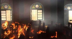 Church in flames in Syria