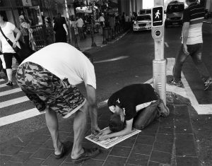 Begging outside Tel-Aviv bus station