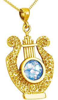 Roman Glass 'King David Harp - Lyre' Pendant