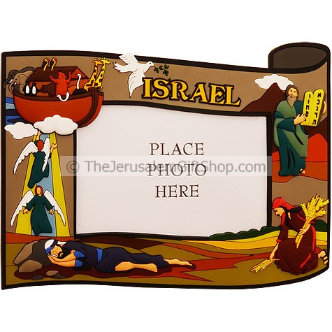 3D Photo Framefeaturing Hebrew Bible Stories. From right to left, Moses descends from the mountain with the Ten Commandments, Ruth gathering grain in the field, Jacob dreams of angels on a ladder and Noah's ark. Size: 23.5cm X 17.5cm / 9.3 X 6.9 inc #Jacob