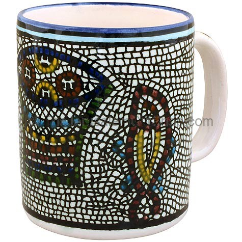 Hand painted Armenian ceramic 'Tabgha' mug. Made in Jerusalem.Size: 4 inches / 10cm high. Lead free. Dishwasher safe. Tabgha in the Galilee is where Jesus performed the miracle of the loaves and the fishes. Shipped to you direct from the Holy Land. #mug