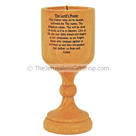 Olive Wood Candlestick Lord's Prayer