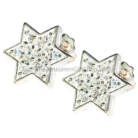 Star of David Zircon Stud earrings