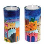 Yair Emanuel Hand-Painted Shabbat Candle Holders - Jerusalem