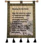 'Blessing for the Home' Decorated Tower of David Jerusalem Banner - Blue