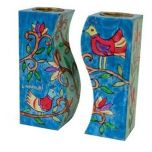 Yair Emanuel Hand-Painted Fitted Candle Holders - Birds