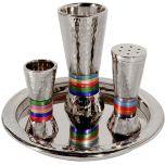 Yair Emanuel Hammered Nickel Havdalah Set - Multicolor