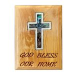 Fridge Magnet - Olive Wood with Mother of Pearl 'Cross' Inlay - 'god bless our home' Engraving - Made in Bethlehem