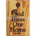 Olive Wood Magnet - God Bless Our Home