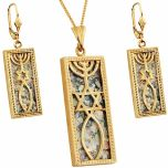 14 Carat Gold Roman Glass 'Grafted In' Messianic Pendant & Earrings