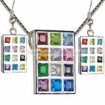 Hoshen pendant earring set - sterling silver