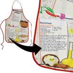 Kitchen Apron - Holy Land Cuisine Souvenir - Apron with Israeli cuisine: Hummus, Falafel mix, Israeli salad - Menu Apron