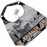 Kotel - Western Wall Canvas Hobo Bag - Jerusalem - Colorful Foil - Zipper