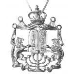 Lion of Judah Silver Menorah Ten Commandments Crown Pendant