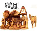 Musical Olive Wood Nativity Set from Bethlehem - Silent Night - Camel