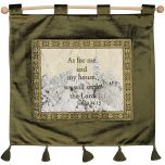 'As For Me and My House, We Will Serve The Lord' - Joshua 24:15 - Wall Hanging - Olive Green