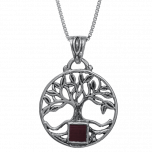 Nano Bible Necklace Silver Round Tree of Life