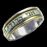 I am my beloved / Ani LeDodi - Hebrew Narrow Silver and Gold Ring