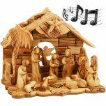 Musical Nativity Set from Olive Wood - Faceless 12 piece set
