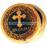 Pill Box Olive Wood with Cross and Jerusalem