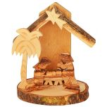 Olive Wood Mini Nativity Scene Ornament from the Holy Land l Natural Bark