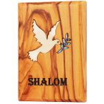 Fridge Magnet - Olive Wood with Mother of Pearl Dove of Peace Inlay - Made in Bethlehem