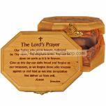 Hexagon shaped Olive Wood Box - Lord's Prayer