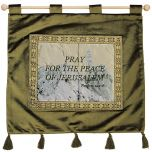 Pray for the peace of Jerusalem - Psalm 122:6 - Wall Hanging - Olive Green