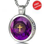 Nano 24k Gold Scripture Inscribed 'Psalm 23' Swarovski Crystal in Round Sterling Silver Pendant - Purple