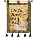 I AM THE RESURRECTION AND THE LIFE (John 11:25) Garden Tomb Jerusalem Wall Hanging - Blue