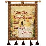 I AM THE RESURRECTION AND THE LIFE (John 11:25) Garden Tomb Jerusalem Wall Hanging - Burgundy