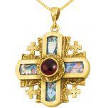 Roman Glass 'Jerusalem Cross' 5 Fold - Rugged Cross Pendant - 14k Gold - Red Crystal