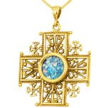 Roman Glass 'Jerusalem Cross' Decorated Five-Fold Cross Pendant - 14 Gold - Holy Land Jewelry