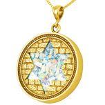Roman Glass 'Jerusalem Walls - Star of David' Round 14k Gold Pendant - Made in Israel