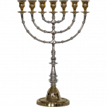 Silver & Gold Plated Tall Menorah