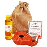 Biblical 'Wise Virgins' Clay Oil Lamp in Sackcloth Bag with Olive Oil & Certificate of Authenticity - Be Ready!!!