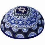 Yair Emanuel - Star of David Embroidered Silk Kippah - Blue