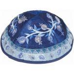 Yair Emanuel   Embroidered Silk Kippah   Pomegranate   Blues