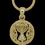 Yellow Rhodium Emblem of Menorah Pendant