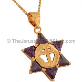 Goldfill Star of David Pendant with Amethyst and a Cross in the Center