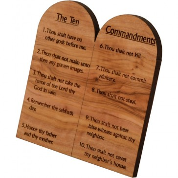 The Ten Commandments on Olive Wood - English - Medium