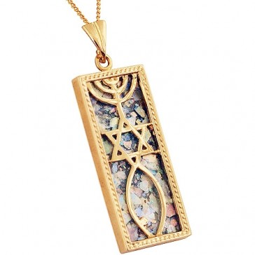 14 Carat Gold Roman Glass 'Grafted In' Messianic Pendant