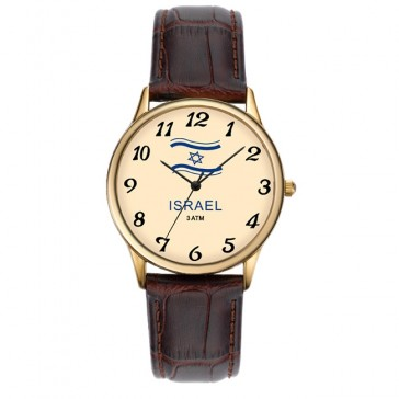 Israeli Flag Watch by 'Adi Watches' - Gold plated Stainless Steel on Brown Leather Strap - Made in Israel