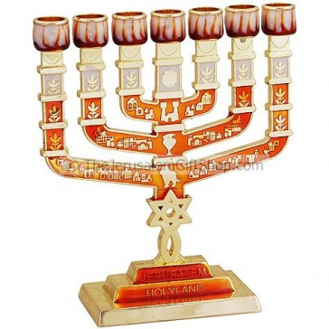 Grafted In Menorah - Enameled