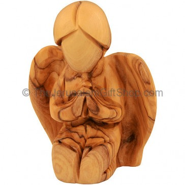Olive Wood Angel on Knees Praying